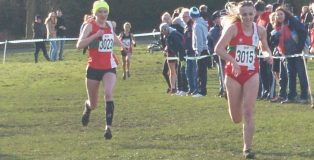 Emily and Louise sprint for the line